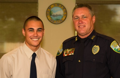 Shawn Adkins with his father, New Smyrna Beach Police Inv. David Adkins / Henry Frederick