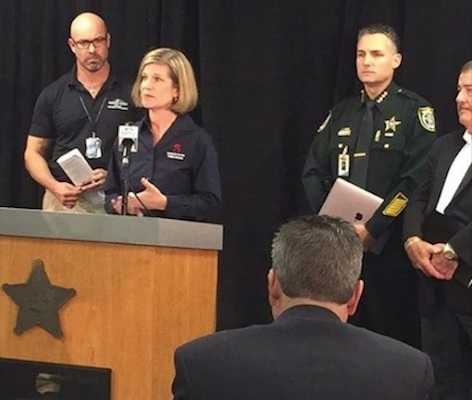 Seminole County School Board member Amy Lockhart and Sheriff Denni Lemm among the leaders updating the press on Irma / Headline Surfer