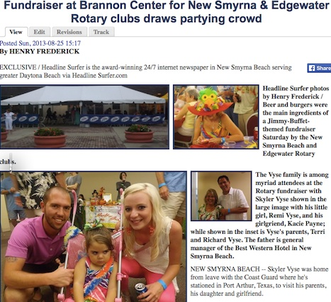 2013 coverage of the NSB/Edgewater fundraiser was far more positive without interference from Robert Lott / Headline Surfer®
