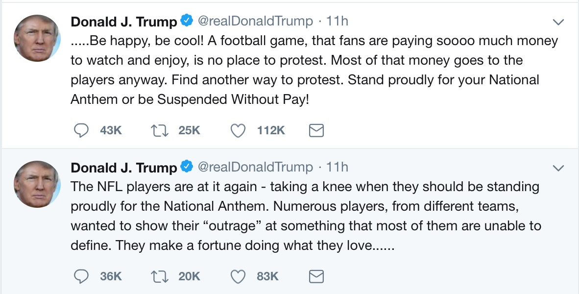 Trump tweets NFL anthem warnings / Headline Surfer