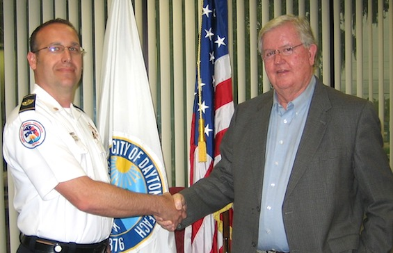 Dru Driscoll named fire chief of Daytona Bech, FL as shin with City Mgr Jim Chisholm / Headline Surfer®
