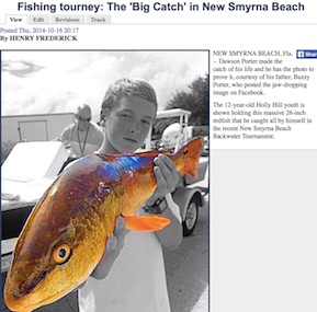 Dawson Porter's 'Big Catch' in New Smyrna Beach, FL, seen around the world online / Headline Surfer®