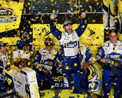 Jimmie Johnson celebrates after winning his 7th championship / Headline Surfer