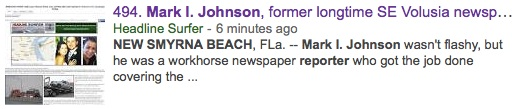 Internet story on Mark I. Johnson of New Smyrna Beach trends in Google search engines / Headline Surfer®