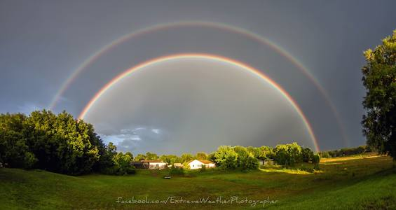 Double rainbow brightens the skies over Osteen, FL in this 8:07 p.m. image / Headline Surfer®