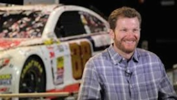 Dale Earnhardt Jr shown in 2014 after winning the Daytona 500 / Headline Surfer