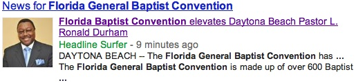 Google search on Daytona's Rev. L. Ronald Durham / Headline Surfer