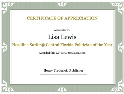 Volusia Supervisor of Elections Lisa Lewis the Headline Surfer Central Florida Politician of the Year for 2016 / Headline Surfer®