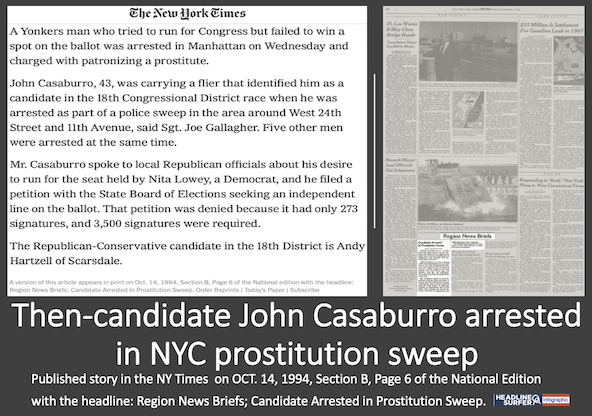 NY Times reported tn-candidae John Casaburro was arrested in NYC in a prosdtitution sweep / Headline Surfer infographic