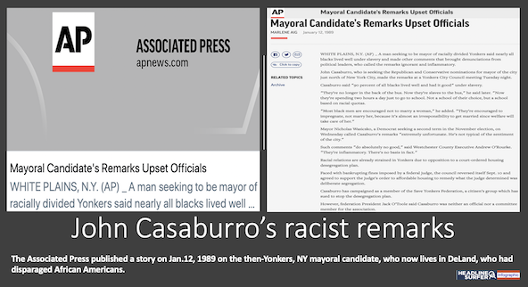 John Caaburro racist comments / Headline Surfr infographic
