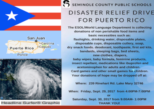 Seminole County School District holding relief drive for Puerto Rico / Headline Surfer