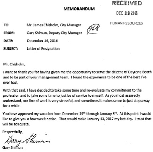 Daytona Assistant Mager Gary Shimun resignation letter in wake of alklegation of involvement in prostitution sting / Headline Surfer
