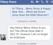 Tiffany Evers, then-editor, confiirms closing of the monthly Observer newspaper / Headline Surfer®