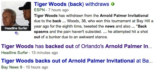 Tiger Woods' withdrawal from the Orlando Arnold Palmer Invitational big news / Headline Surfer®