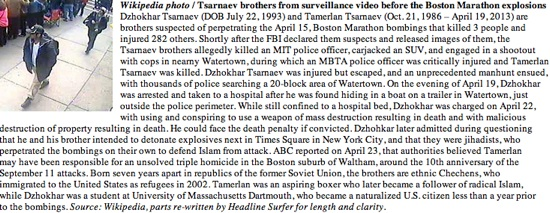 Tsarnaev Brothers update / Headline Surfer