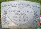 Tombstone of African-American toddler Zaniyah Hinson, who baked to death in a Daytona day-care church van / Headline Surfer®