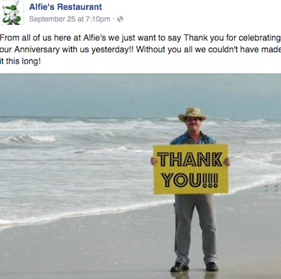 Alfiie's Retaurant in Ormond Beach says thanks / Headline Surfer