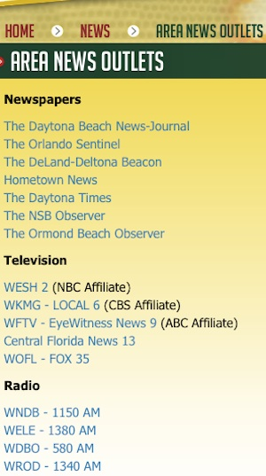 Area news outlets listed on Volusia County's sheriff site now excludes the internet news outlet / Headline Surfer®