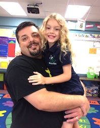 Ray Catheline with daughter Olivia of NSB on 1st day of school / Headline Surfer®