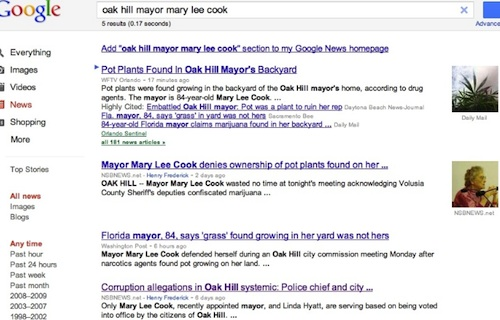 Mary Lee Cook, ex-Oak Hill Mayor in pot scandal plant / Headline Surfer
