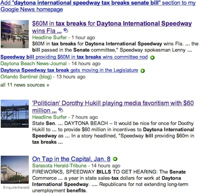 Internet newspaper's story on Daytona Speedway tops in Google search engine / Headline Surfer®