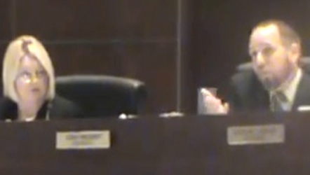 County Council's Deb Denys used her seat on the dais to rip a reporter behind his back / Headline Surfer®