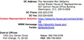 Congressman Ron DeSantis contact info / Headline Surfer