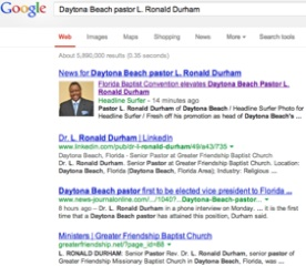 Rev L. Ronald Durham in Google search engines / Headline Surfer