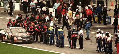 Dale Earnhardt rides into Victory Circle in the 1998 Daytona 500 / Headline Surfer®