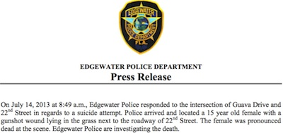 Edgewater police press relrase on teen suicide / Headline Surfer