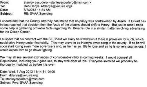 Stan Escudero email to Councilwoman Deb Denys involving the internet newspaper's publisher, Henry Frederick / Headline Surfer®