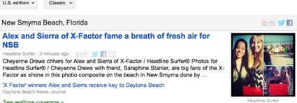 Alex and Sierra coverage tops in Google news directories for New Smyrna Beach / Headline Surfer®