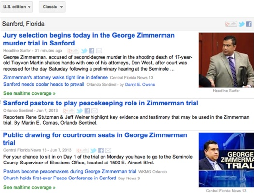 Zimmerman stories trending this morning on Google / Headline Surfer