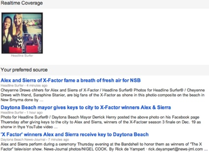 Internet newspaper coverage on Alex & Sierra very popular / Headline Surfer®
