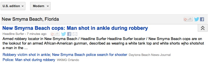 Headline Surfer's story on robbery leads coverage in Google News Directories / Headline Surfer