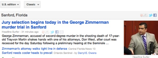 Zimmerman trial coverage / Headline Surfer