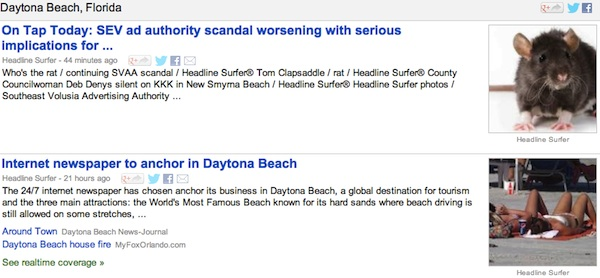 Internet newspaper stories routinely highlight on online news directories in greater Daytona Beach / Headline Surfer®