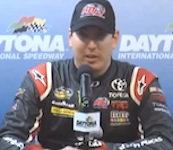 Kyle Busch in post-race conference after winning 2014 truck race at Daytona / Headline Surfer®