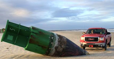A Coast Guard radar buoy washes ashore in New Smyrna Beach, Florida / Headline Surfer®