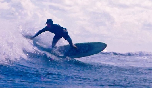 Kem McNair in 1971 surfing the Inlet in New Smyrna Beach, FL / Headline Surfer