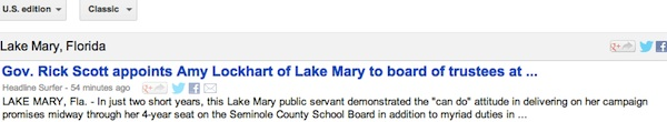 Seminole County on governor college trustee appointment trending in Lake Mary, Sanford Google News directories / Headline Surfer®
