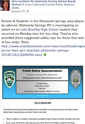 Seminole County School Board member Amy Lockhsrt uses social media to communicate with parents on school safety / Headline Surfer®