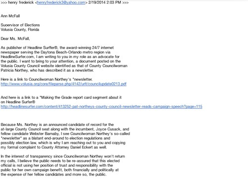 Emailed complaint re County Council's Pat Northey to Ann McFall / Headline Surfer®