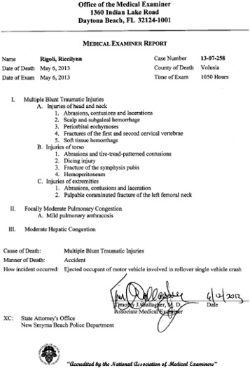 Medical examiner's autopsy report on R. Rigoli killed May 6 in DUi crash in NSB / Headline Surfer