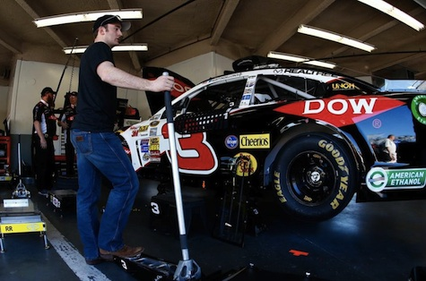 Austin Dillon oversees work done on his No. 3 racing car in advance of Sunday's Daytona 500 / Headline Surfer®