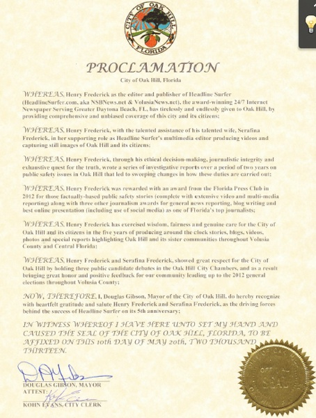 Oak Hill, FL proclamation for 5th anniversary Headline Surfer / Headline Surfer