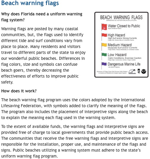 Beach waring flags webpage for Volusia County not reader friendly / Headline Surfer®