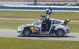 Rhys Millen salutes the fans at Daytona International Speedway after his Rallycross win / Headline Surfer®