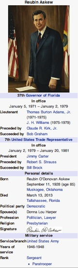 Reubin Askew snapshot -- former governor dead at age 85, reported in Daytona Beach, FL / Headline Surfer®