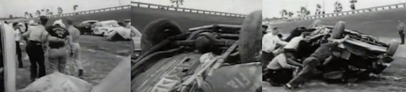 Trio of screenshots from vintage footage of the biggest pile-up of cars at Daytona Int'l Speedway during the start of a race in 1960 / Headline